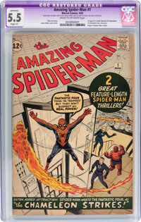 The Amazing Spider-Man #1 (Marvel, 1963) CGC Apparent FN- 5.5 Slight (P) Cream to off-white pages