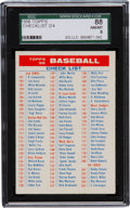 Baseball Cards:Singles (1950-1959), 1956 Topps Checklist 2/4 SGC 88 NM/MT 8....