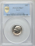 Proof Roosevelt Dimes: , 1970 10C No S PR67 PCGS Secure. PCGS Population (59/72). NGCCensus: (31/61). Mintage: 2,200. Numismedia Wsl. Price for pro...