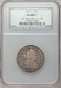 1805 25C -- Reverse Improperly Cleaned -- NCS Genuine. Mintage: 121,394. From the Collection of Donald E. Bently, sold f...