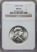 Franklin Half Dollars: , 1958-D 50C MS64 NGC. NGC Census: (1435/1935). PCGS Population(2478/1892). Mintage: 23,962,412. Numismedia Wsl. Price for p...