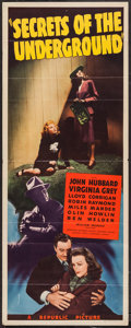 "Movie Posters:War, Secrets of the Underground (Republic, 1942). Insert (14"" X 36"").War.. ..."