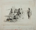 Books:Original Art, [American Heritage Archives]. Original Drawing of Soldiers' Camp During the Spanish-American War. Ink illustration featured ...