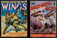 """Wings & Other Lot (Fiction House, 1942). Pulp Magazines (2) (Multiple Pages, 7"""" X 10""""). War. ... (Tota..."""