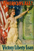 "Movie Posters:War, World War I Propaganda (Forbes, 1919). Howard Chandler ChristyPoster (27"" X 40"") ""Americans All!"" War.. ..."