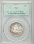 Seated Quarters: , 1877-CC 25C MS62 PCGS. PCGS Population (81/266). NGC Census:(57/232). Mintage: 4,192,000. Numismedia Wsl. Price for proble...