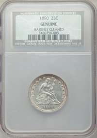 1890 25C -- Harshly Cleaned -- NCS Genuine. Mintage: 80,000. From the Collection of Donald E. Bently, sold for the benef...
