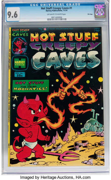 Hot Stuff Creepy Caves #1 File Copy (Harvey, 1974) CGC NM+ 9.6 Off-white to white pages....