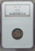 Bust Dimes: , 1821 10C Large Date XF45 NGC. NGC Census: (15/155). PCGS Population(19/137). Mintage: 1,186,512. Numismedia Wsl. Price for...