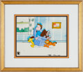 Animation Art:Production Cel, Garfield and Friends Production Cel and Background Set-Up AnimationArt (Film Roman/PAWS, Inc., 1988)....