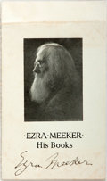 "Autographs:Authors, Ezra Meeker [1830-1928]. Promotional Pamphlet Advertising Meeker's Books, SIGNED. 3.5"" x 6"". Seven pages. Signed at first pa..."