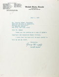 "Autographs:Statesmen, George Murphy. Typed Letter Signed. 8"" x 10.5"". June 5th, 1967.Letter regarding an ASCAP publication and addressed to its p..."
