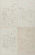 "Autographs:Authors, Andrew Lang [1884-1912]. Group of Four Autograph Letters SIGNED. 4.5"" x 7"" folded. Undated. Also includes engraved portrait ..."