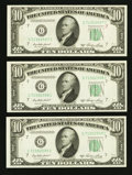 Error Notes:Ink Smears, Fr. 2011-G $10 1950A Federal Reserve Notes. Three ConsecutiveExamples. Choice Crisp Uncirculated or Better.. ... (Total: 3notes)