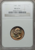 Washington Quarters: , 1961 25C MS67 ★ NGC. NGC Census: (27/0). PCGS Population (5/0).Mintage: 37,000,000. Numismed...