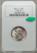 Washington Quarters, 1961-D 25C MS67 NGC. CAC. NGC Census: (9/0). PCGS Population (4/0).Mintage: 83,656,930. Numismedia Wsl. Price for problem ...