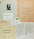 Autographs:Authors, Small Archive of Items Related to Lewis Mumford. Includescorrespondence between Mumford and the book editor Chester Brooks...