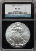 Modern Bullion Coins, 2001 $1 Silver Eagle MS69 NGC. 25th Anniversary Holder. NGC Census: (86889/492). PCGS Population (21281/24). Numismedia Ws...