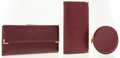 Luxury Accessories:Accessories, Cartier Set of Three; Burgundy Leather Wallets and Coin Purse. ... (Total: 3 Items)