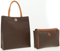 Luxury Accessories:Accessories, Celine Set of Two: Brown Monogram Canvas Handbag with BraidedHandles and Brown Monogram Pouch . ...