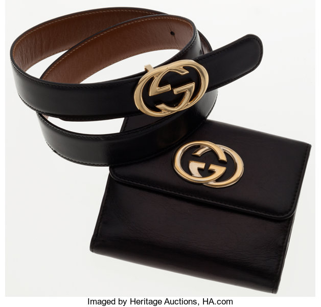 b21b7648240 Gucci Set of Two  Black Wallet and Belt with Gold Hardware.