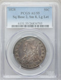 Bust Half Dollars: , 1828 50C Square Base 2, Small 8, Large Letters AU55 PCGS. PCGSPopulation (85/162). NGC Census: (39/101). ...