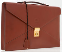 Loewe Brown Leather Briefcase with Keys & Clochette