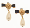 Luxury Accessories:Accessories, Chanel Gold Earrings with Camellia Flower & Faux Pearl Drop....