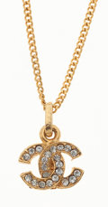 Luxury Accessories:Accessories, Chanel Gold Necklace with Rhinestone CC Pendant . ...