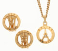 Luxury Accessories:Accessories, Celine Gold Eiffel Tower Earrings & Necklace Set. ...