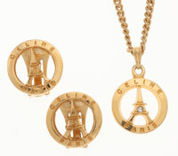 Celine Gold Eiffel Tower Earrings & Necklace Set