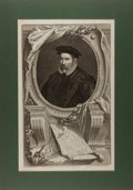 """Books:Prints & Leaves, Jacobus Houbraken. Engraved Portrait of Sir Nicholas Bacon, LordKeeper. London: I and P Knapton, 1738. 14"""" x 20"""". Tipped on..."""