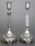 Silver Holloware, Continental, A PAIR OF ICEK ERLICH POLISH SILVER-PLATED CANDLESTICKS. Circa1900. Marks: I. ERLICH, (partially effaced), 11, 23,... (Total: 2 Items)