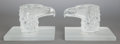 Glass, A PAIR OF LALIQUE FROSTED GLASS EAGLE HEAD BOOKENDS. Post 1945. Marks: LALIQUE, FRANCE. 5 x 7-1/4 x 5-3/4 inches (12.7 x... (Total: 2 Items)