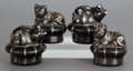 Silver & Vertu:Hollowware, FOUR EMILIA CASTILLO SILVER INLAID SALT AND PEPPER SHAKERS. Emilia Castillo, Taxco, Mexico, circa 1996. Marks: EMILIA CAST... (Total: 4 Items)