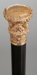 Paintings, A GOLD PLATED AND WOOD PRESENTATION CANE . Circa 1900. 36 inches overall length (91.4 cm). ...