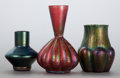 Art Glass:Other , THREE AUSTRIAN IRIDESCENT GLASS BUD VASES. 20th century. 5 incheshigh (12.7 cm) (tallest). ... (Total: 3 Items)
