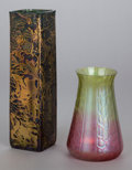 Art Glass, TWO IRIDESCENT GLASS VASES. 20th century. 9 inches high (22.9 cm)(taller). ... (Total: 2 Items)