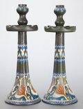 Decorative Arts, Continental:Other , A PAIR OF GOUDA POTTERY CANDLESTICKS. Circa 1920. Marks: GROCUS,GOUDA, HOLLAND. 14-3/4 inches high (37.5 cm). ... (Total: 2Items)