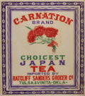 "Miscellaneous:Ephemera, Carnation Brand Choicest Japan Tea Label. Imported by RatcliffSanders Grocer Company, Tulsa. 13.5"" x 15"". Circa 1900s-1..."