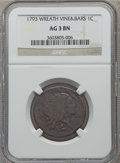 Large Cents, 1793 1C Wreath Cent, Vine and Bars AG3 NGC. S-6, B-7, R.3....