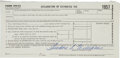 Autographs:Letters, Theodore S. Williams Signed Full Name Tax Document....