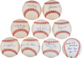 Autographs:Baseballs, Baseball Greats Single Signed Baseballs Lot Of 9....