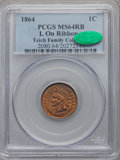 Indian Cents, 1864 1C L On Ribbon MS64 Red and Brown PCGS. CAC. Snow-5a, FS-2304....