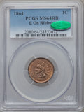 Indian Cents, 1864 1C L On Ribbon MS64 Red and Brown PCGS. CAC....