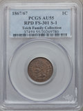 Indian Cents, 1867/67 1C AU55 PCGS. Snow-1, FS-301....