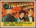 "Movie Posters:War, Five Graves to Cairo (Paramount, 1943). Half Sheet (22"" X 28"")Style B. War.. ..."