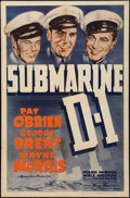 "Movie Posters:War, Submarine D-1 (Warner Brothers, 1937). One Sheet (27"" X 41""). War....."