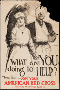 "Movie Posters:War, World War I (American Red Cross, 1919). Poster (25"" X 38"") ""WhatAre You Doing to Help?"" War.. ..."