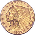 Indian Quarter Eagles, 1929 $2 1/2 MS65 NGC....